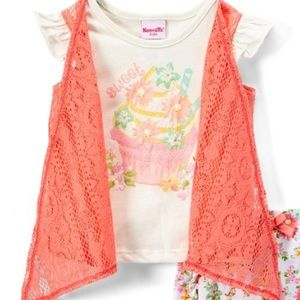 Nannette Matching Sets - SALE Pink Floral Shrug Layered Tee & shorts